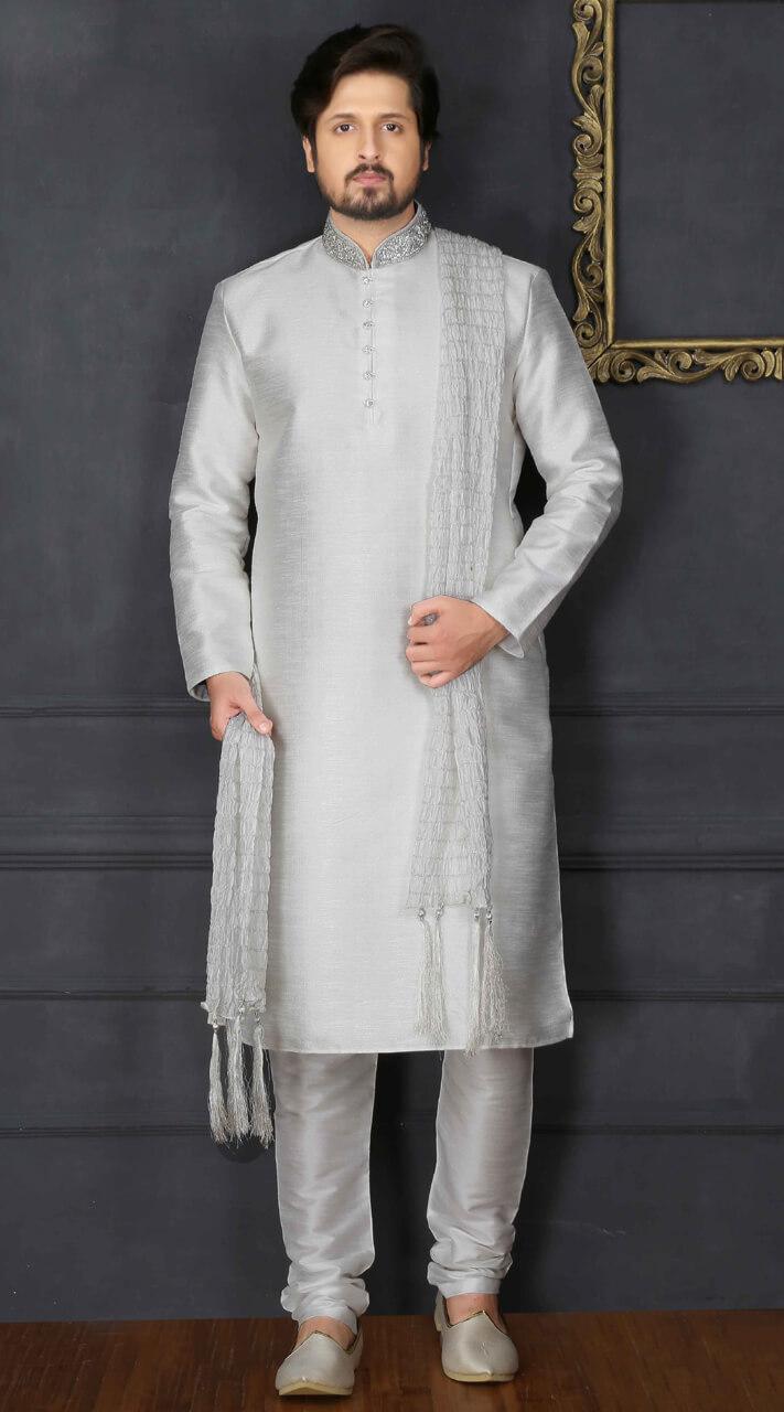 57f65ee69b Wedding Silver Fancy silk Men Kurta Pajama BN3107875