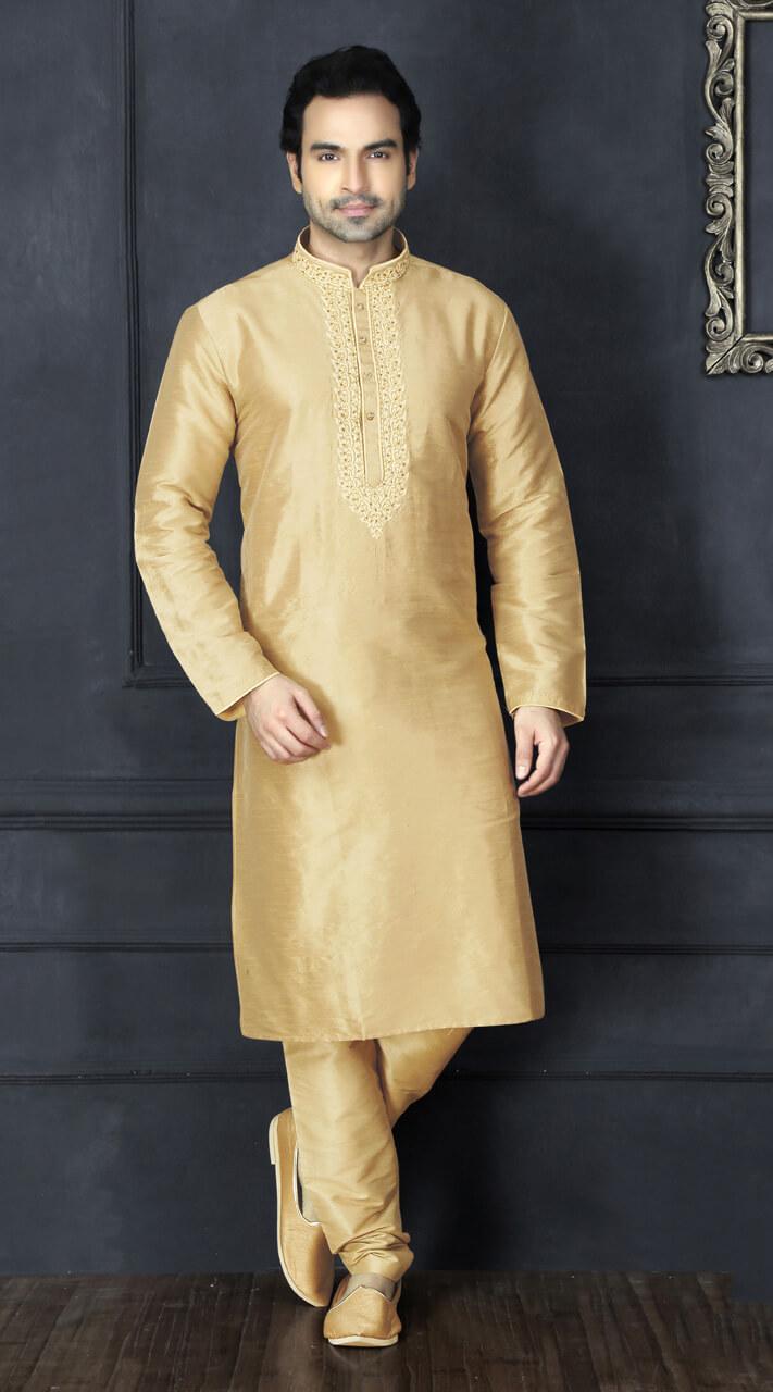 Wedding wear Golden Silk Men Kurta Pajama BN3153885