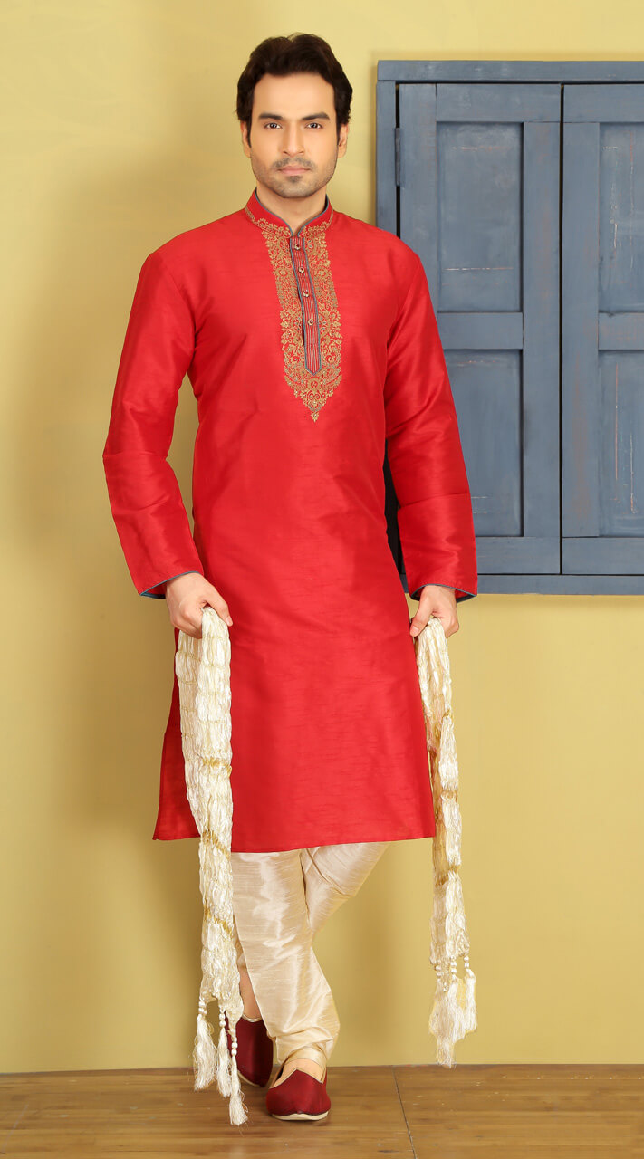 Pinkish Red Silk Men Kurta Pajama For Wedding Wear Bn3154585