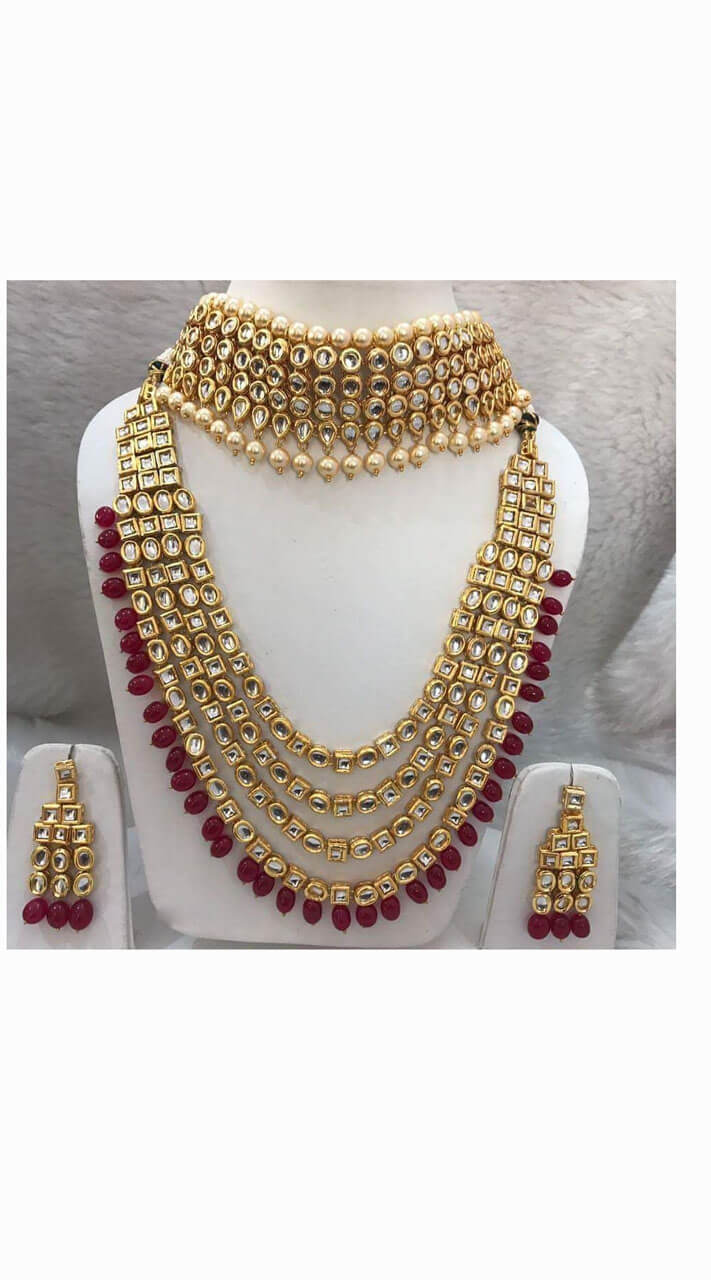 Kundan Golden And Maroon Choker With Necklace Set Nnk03302