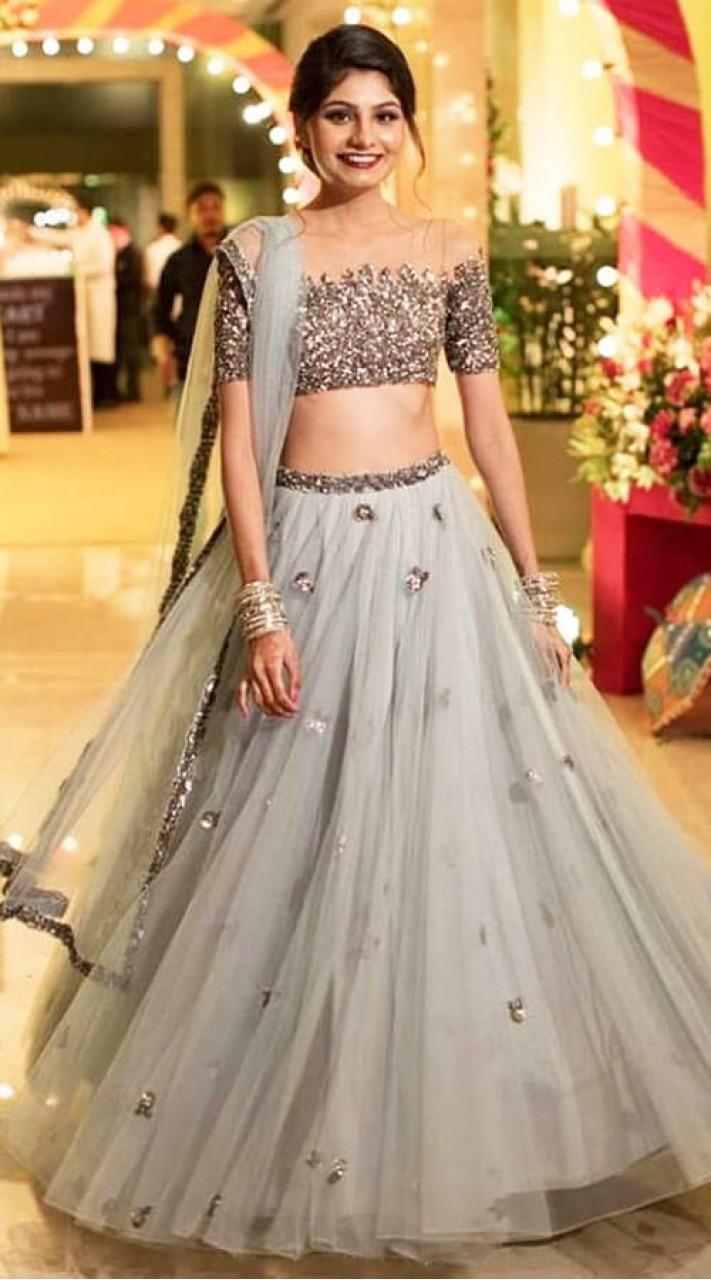 e3a18ff76e11dd Grey Bollywood Style Lehenga Choli in Net WJ007004