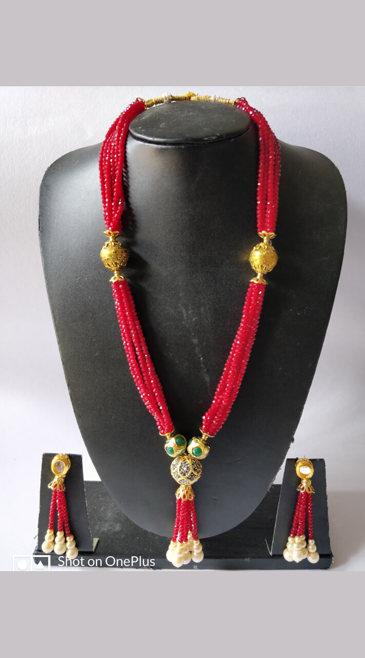 Red Necklace With Earring Set For Daily Wear