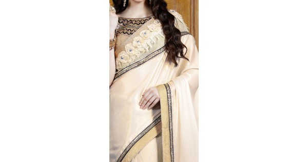 Lovely chiffon off white saree for festival ms