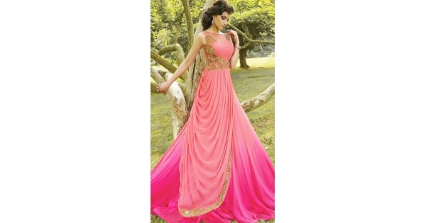 Double Layer Long Gown in Pink Georgette WJ008404 d1ce25e58