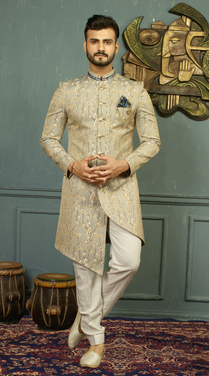 e05ce35eacf On Sale Admired Imported Grey Indo Western Sherwani for Ring Ceremony