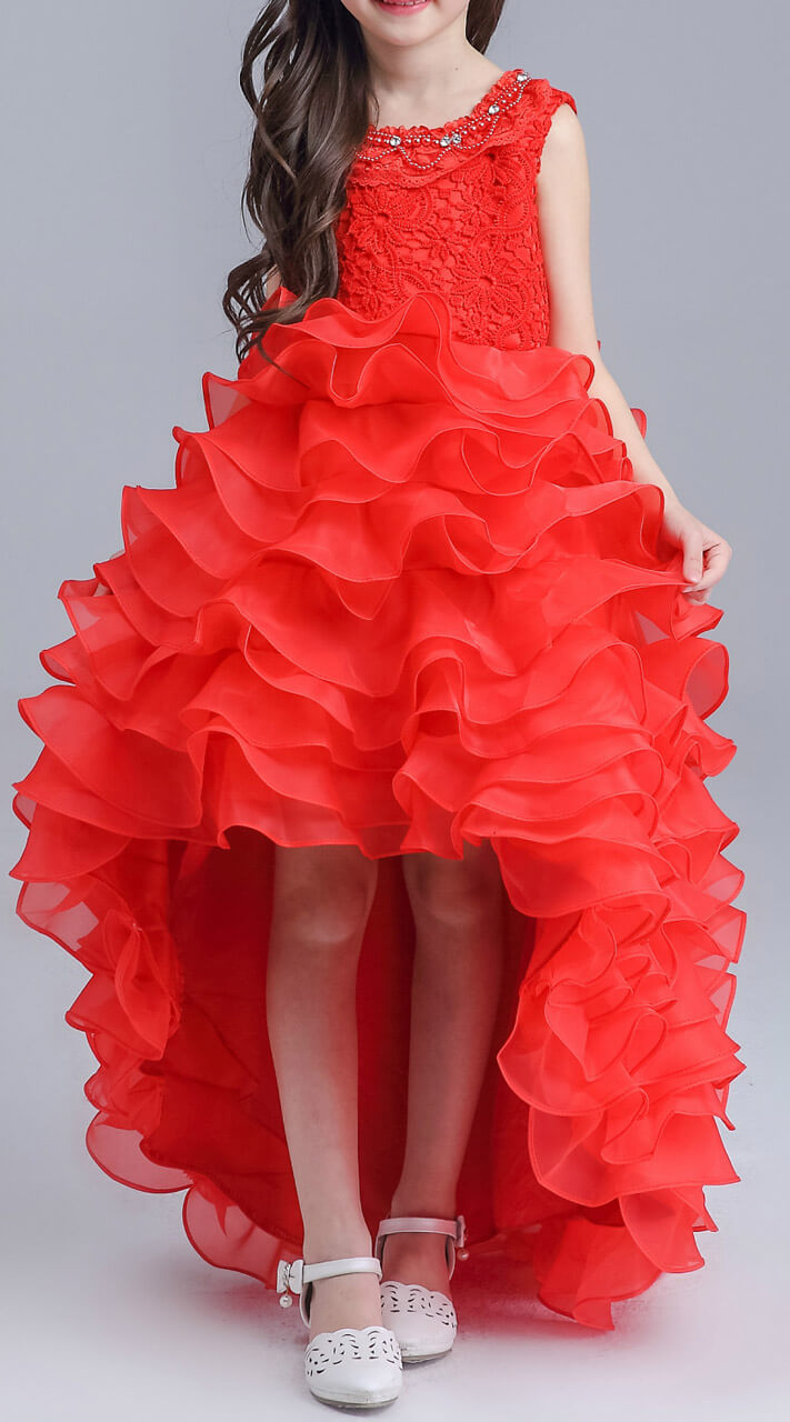 554b7b3d46b Appealing Red Net Multilayered Kids Girl Gown For Birthday Party