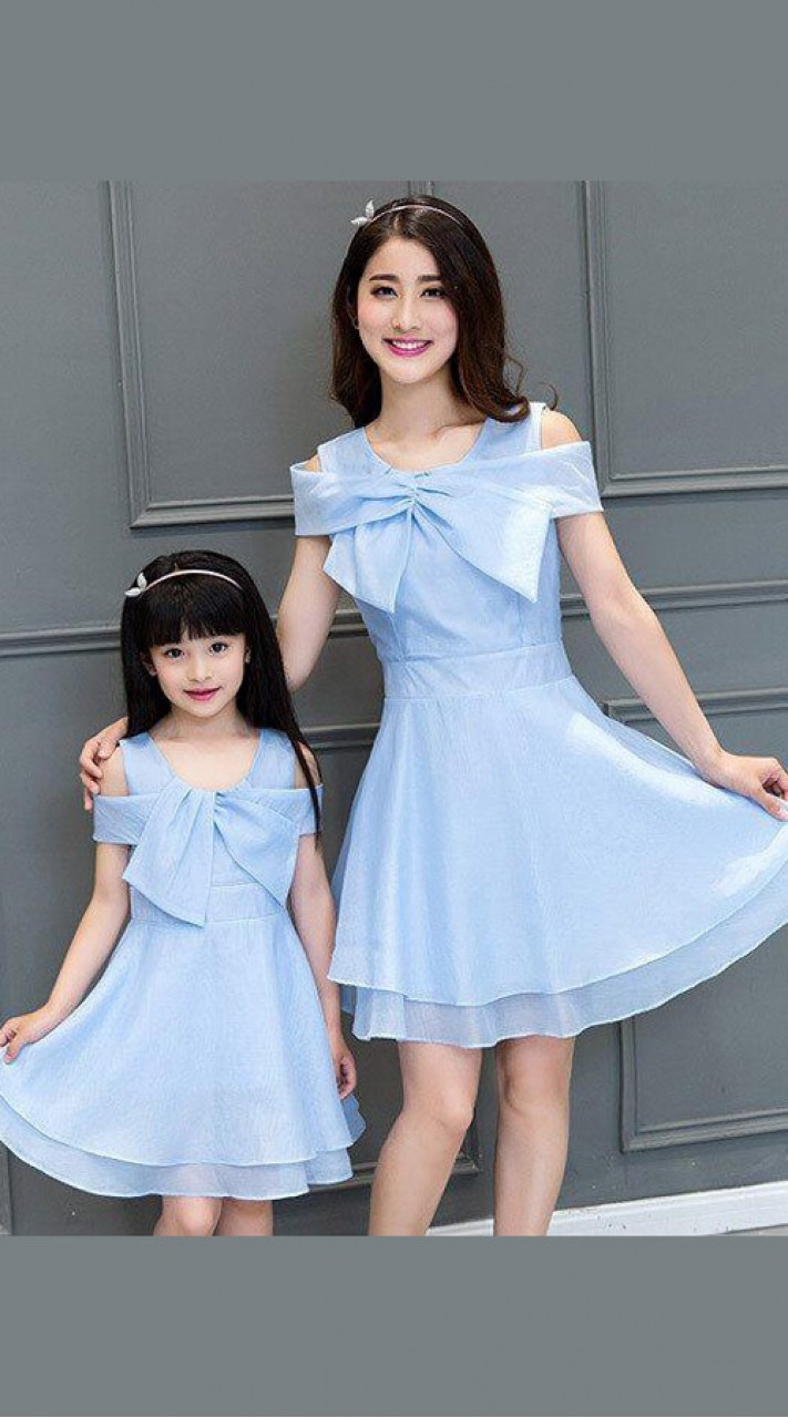 Birthday Party Wear Net Sky Blue Mom And Me Matching Dresses