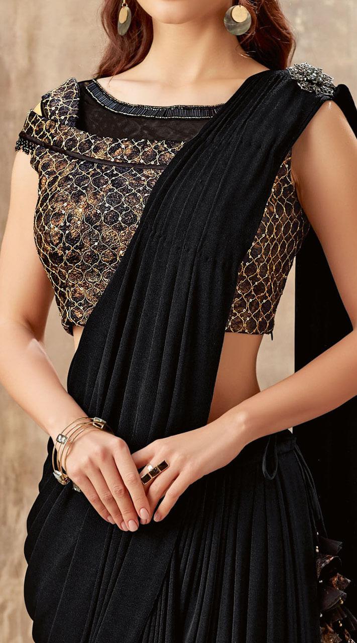 cea0b8c5e7 Lycra Sequins work Black Ready to wear designer saree MS501755