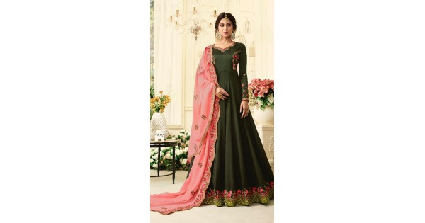 6b28ca2fc8 Charming Green Silk Long Sleeve Anarkali Suit FN660207