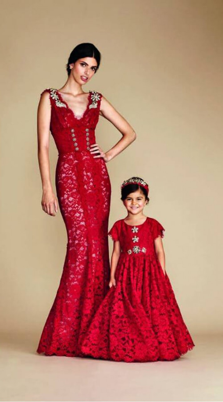 Dark red net mermaid style mom and me combo dresses for wedding 48671665d9