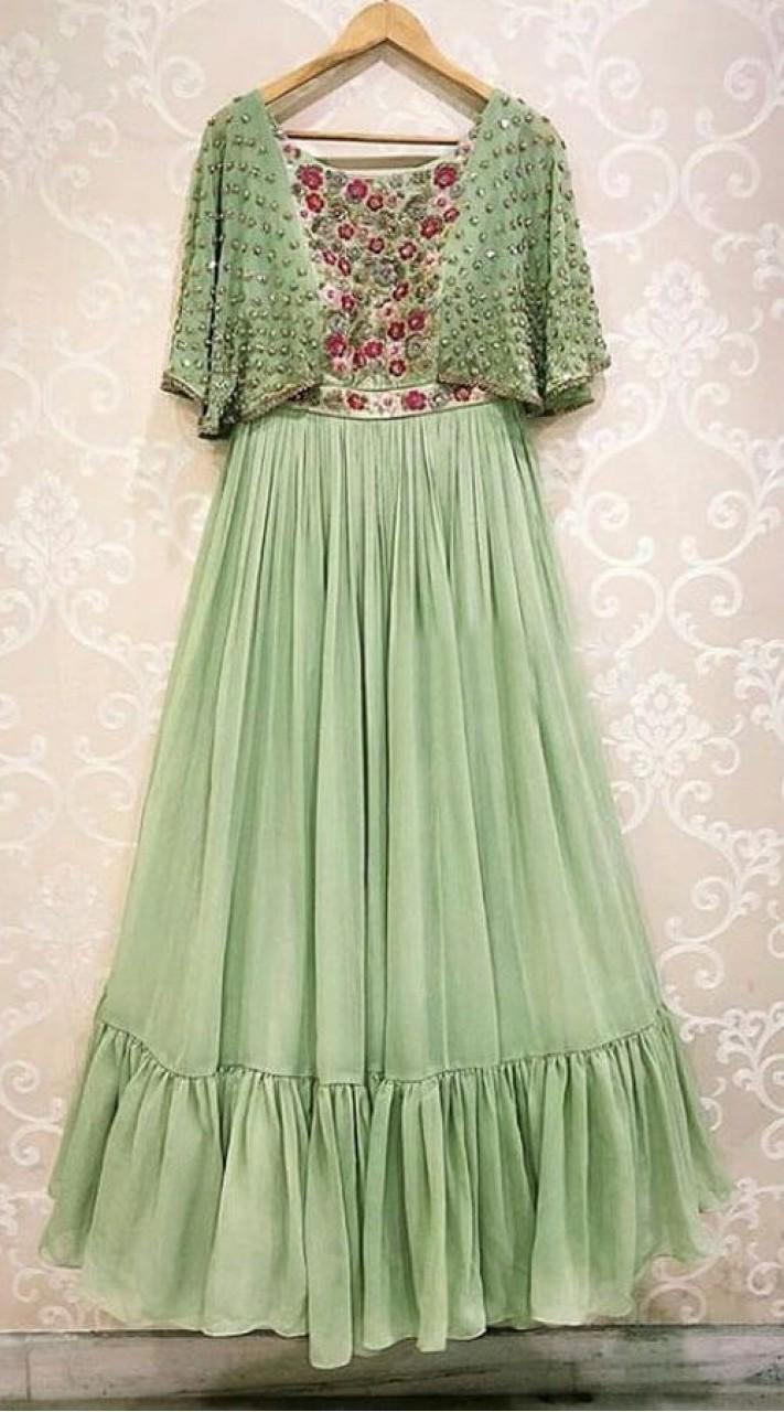 2eb065d4a0 Delightful Green Georgette Cape Top Gown WJ42014