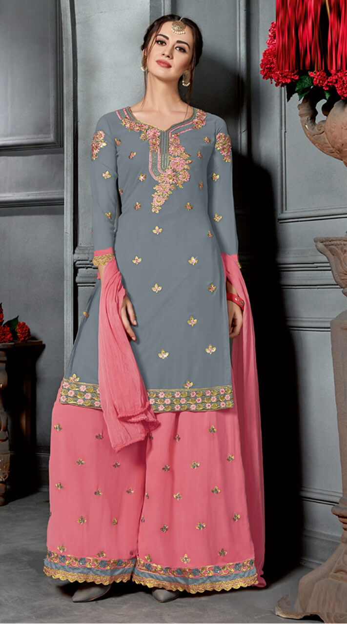 a0612c637f Elegant Georgette Grey and Pink Palazzo Salwar Suit for Festival