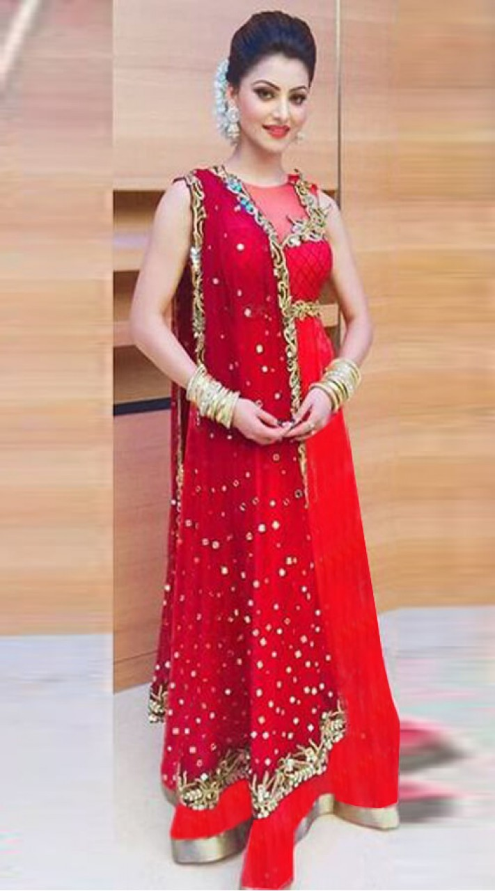 0fcdee31f0 Elegant Red Net High Netted Anarkali Suit WJ32212