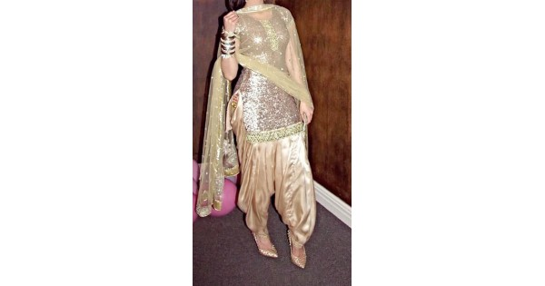 8a2d4db6a9 Endearing Golden Patiala Suit for Evening Party WJ32812
