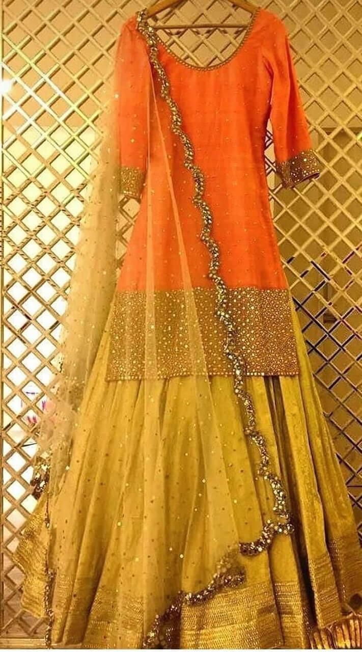 853062a17c5598 Fabulous orange georgette long top choli lehenga jpg 711x1280 Orange long top  lehenga