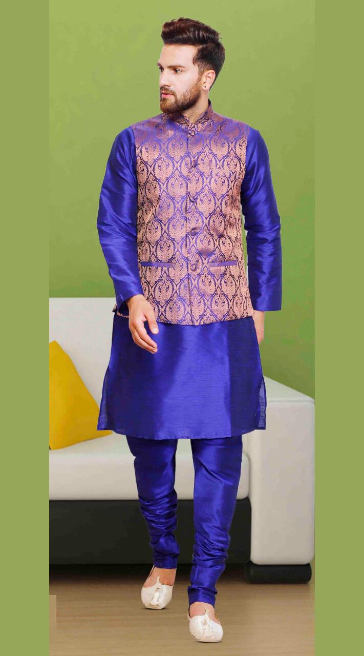 Blue Silk Beautiful Jacket Style Kurta Pajama Dtkpj30267