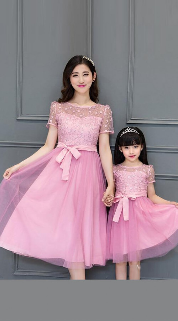 9eb5a2e7c9 Hand Work Mother and Daughter Matching Outfits in Pink WJ51316
