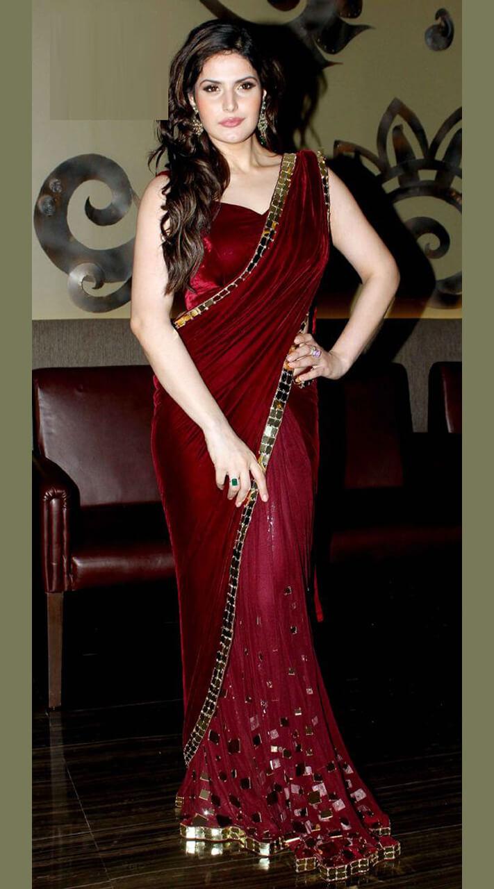 Ideal Velvet Maroon Velvet And Net Saree For Bridal Wj33412