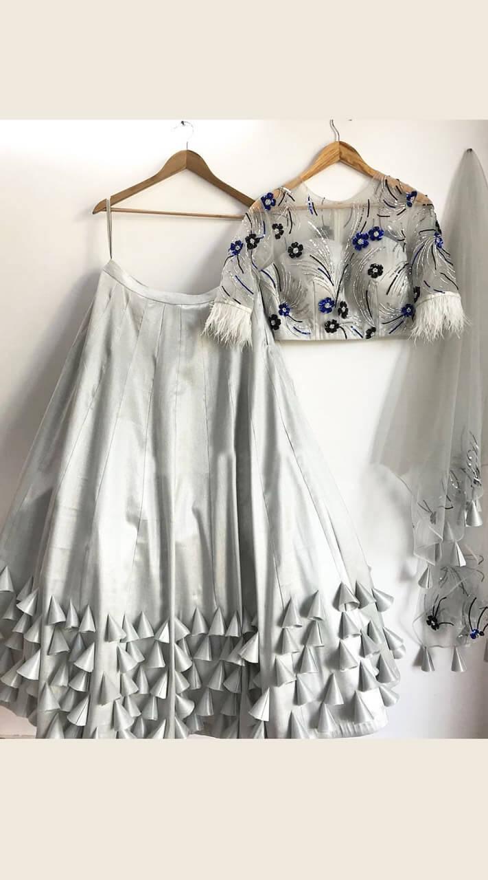 82fcedf11d Lovely Grey Silk Crop Top Lehenga Choli WJ44814
