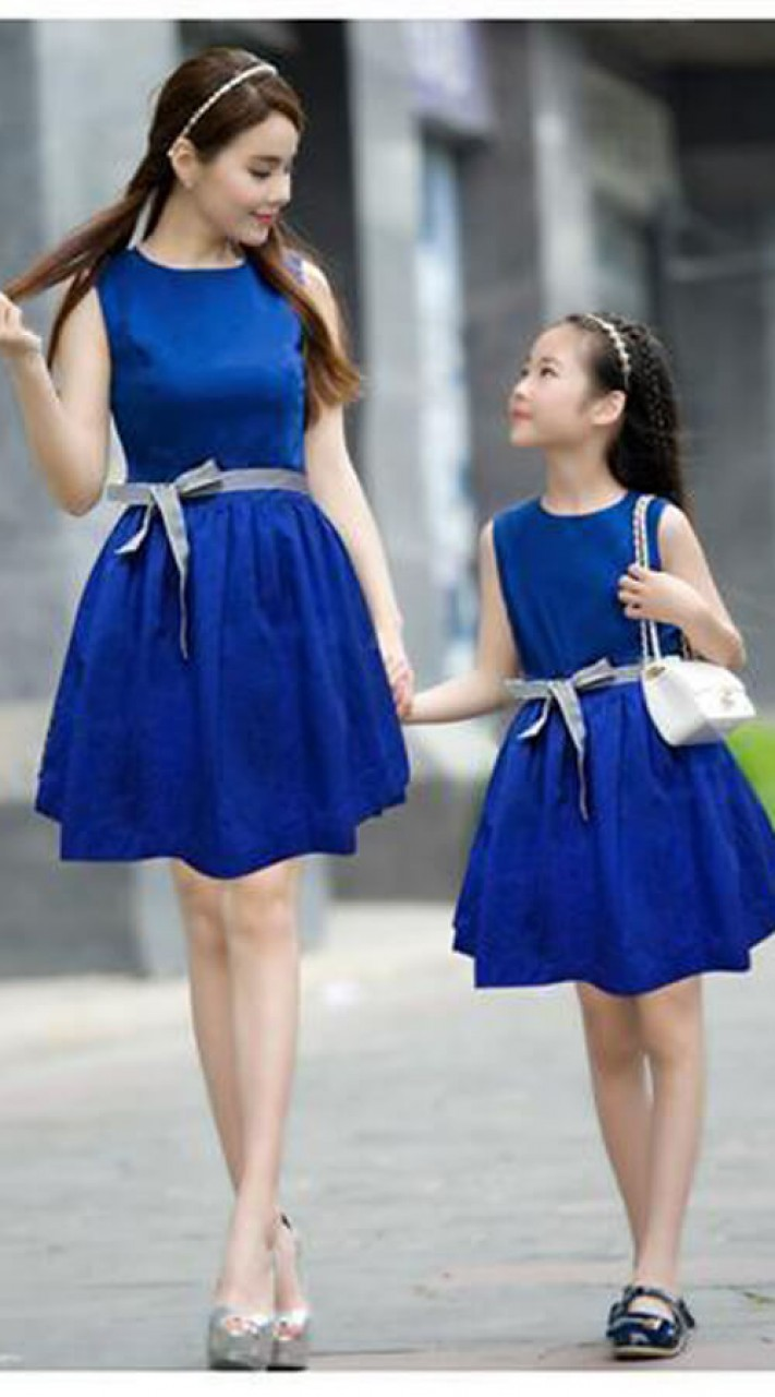 343acf5f07 Lycra Plain Blue Mom and baby girl matching outfits WJ53116