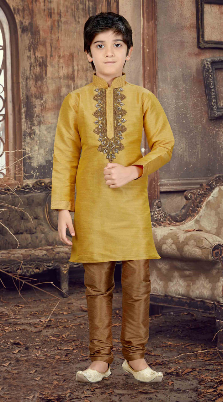 d0470072e Mustard Beautiful Kid Boys Kurta Pajama for Party RL4415011