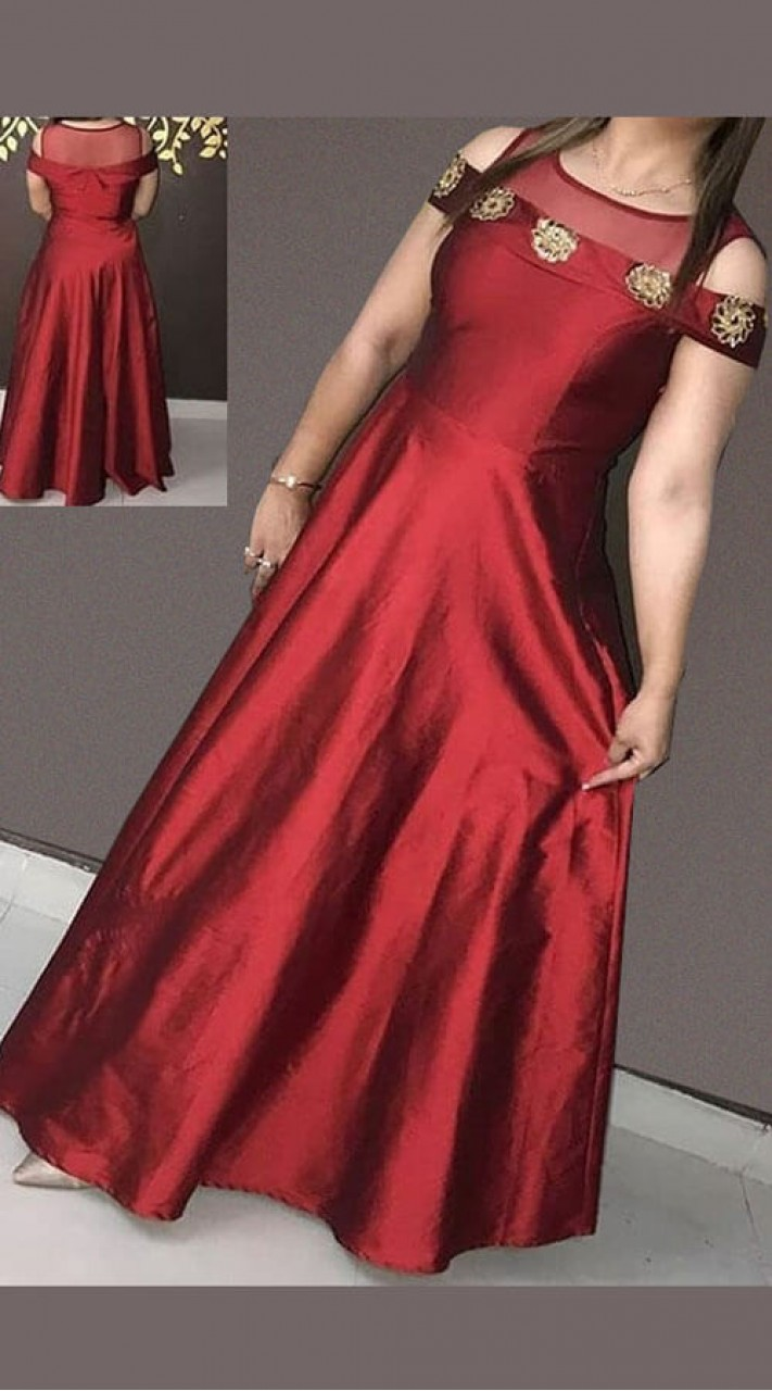 56c972da005 Pleasant Net Red Cold Shoulder Gown for Festival WJ030111