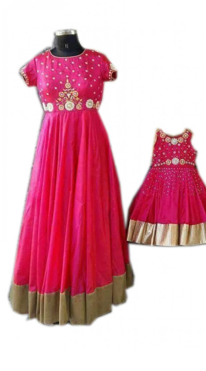 Net and Silk Magenta Mother and Daughter Gown Sets WJ52016