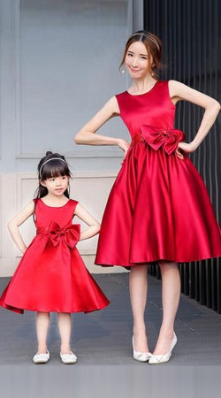 Satin Plain Red Mother And Daughter One