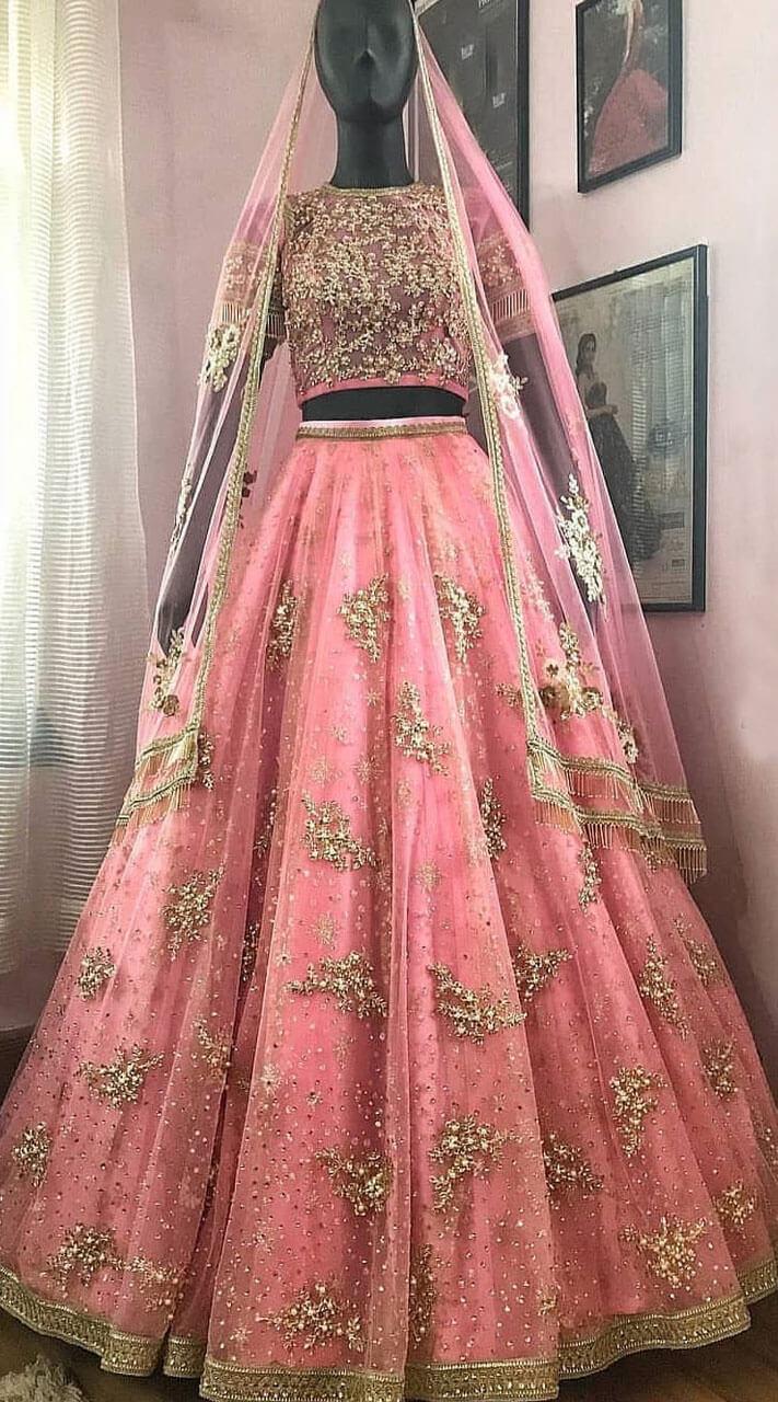 90ea587a1a1 Striking Net Pink Crop Top Lehenga Choli for Wedding WJ38913
