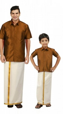 1de32e280b Stunning Brown Silk South Indian Dh.. Rs. 5,292.00. Stunning Blue Cotton Son  and father comb