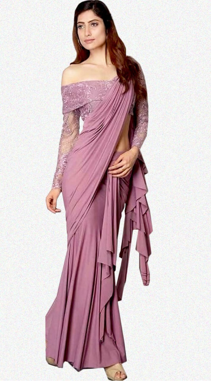 65d8bf52feec1b Stunning Dusty Salmon Pink Saree for Kitty Party WJ43814