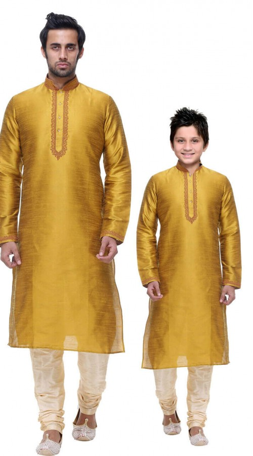 7ec3e4a02 Stunning Mustard Silk Dupion Silk Father and son Combo set