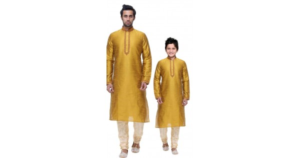 445748d89 Mustard Silk Dupion Silk Father and son Combo set WJ55517