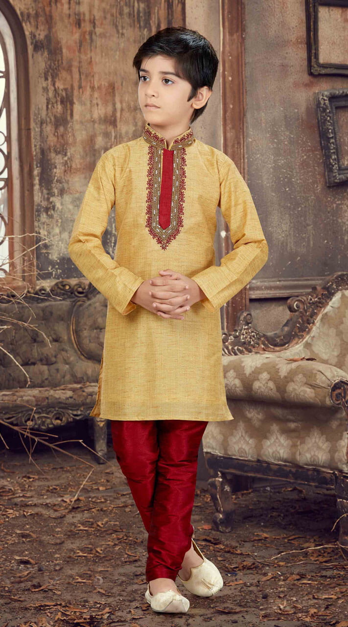 adead3860 Stunning Mustard Silk Hand Work Kid Boys Kurta Pajama for Christmas
