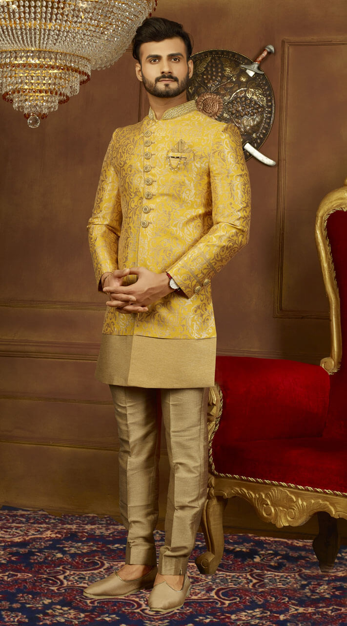e1188c9dc Wonderful Mustard Brocade Jacquard Silk Sherwani TK10308445