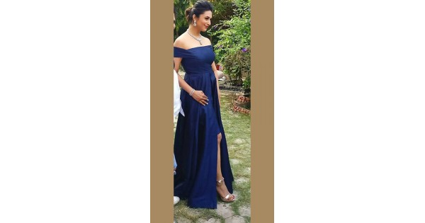 fdf2231662 Blue Raw Silk Off Shoulder Gown for Kitty Party WJ72623