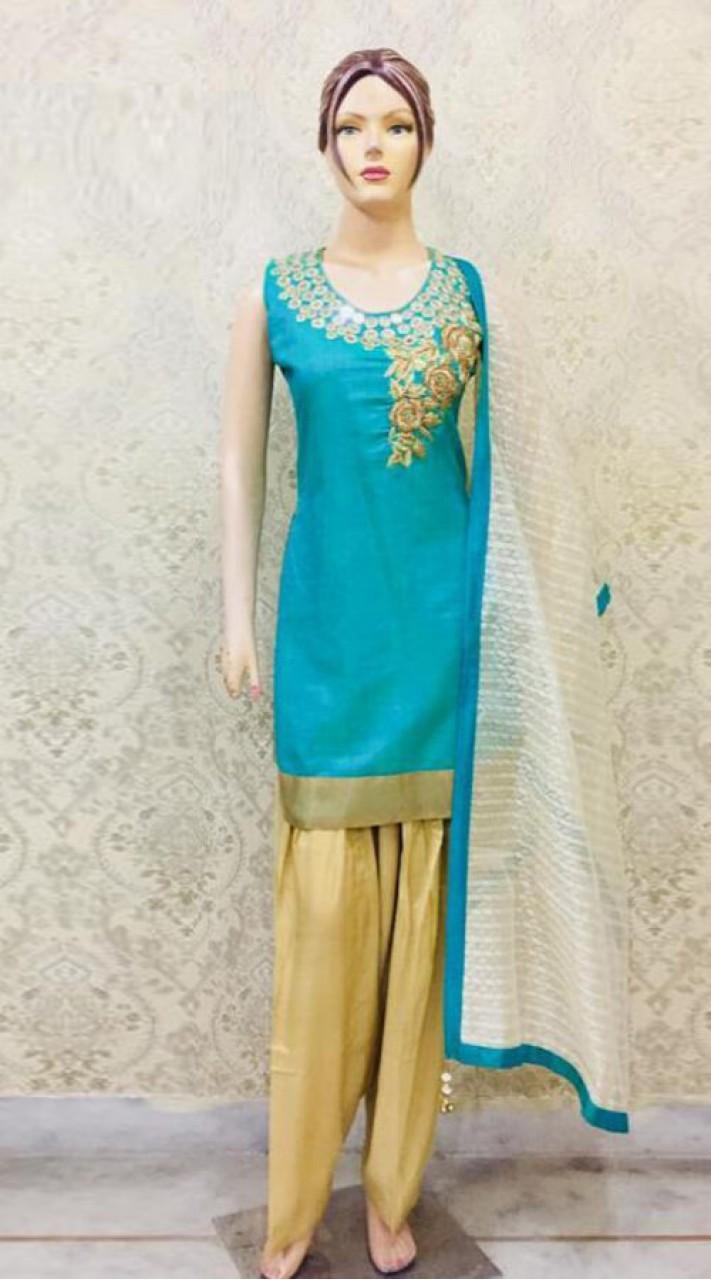 93fef1730a Chanderi Silk Hand Work Turquoise Green Beautiful Salwar Suit