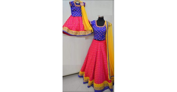 16ff45ce290a Georgette Mother Daughter Crop Top Lehenga Set WJ68020