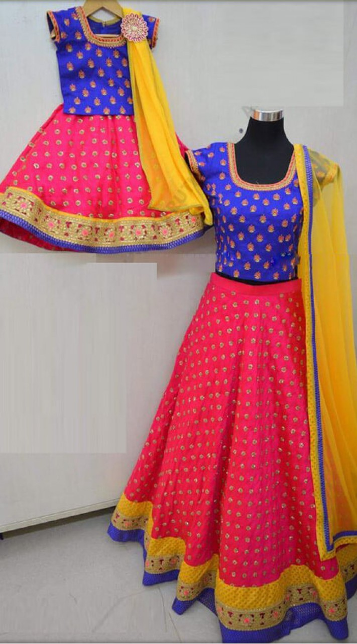 4c8d74d5c23d Fuchsia Pink and Royal Blue Georgette Mother Daughter Crop Top Lehenga Set  for Wedding