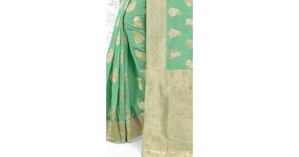 9f5a770b2c9db2 Green Super Net Plain Blouse Saree for Festival YS1001114