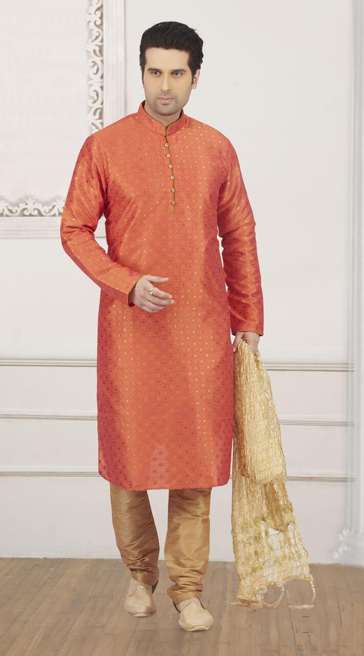 e843949075 Jacquard Silk Brocade Print Orange Designer Kurta Pajama