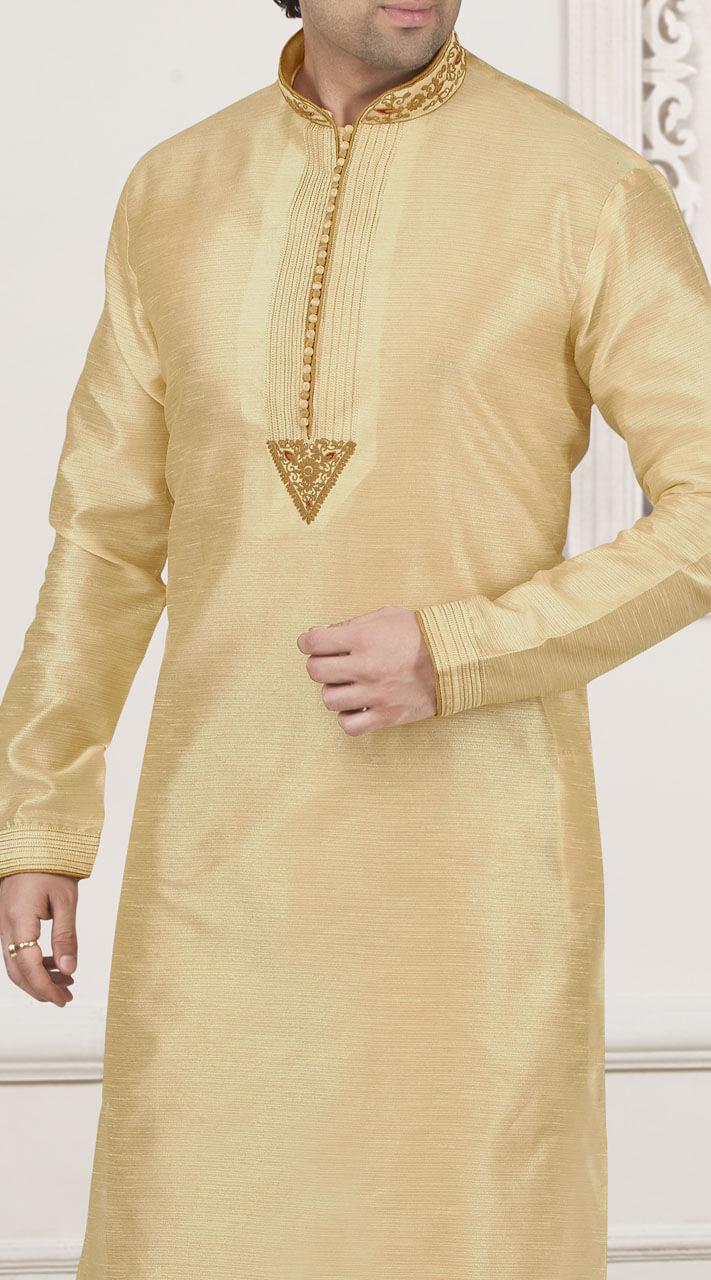 9e81d871d1 Light Golden Art Banarasi Silk Wedding Wear Kurta Pajama for Festival