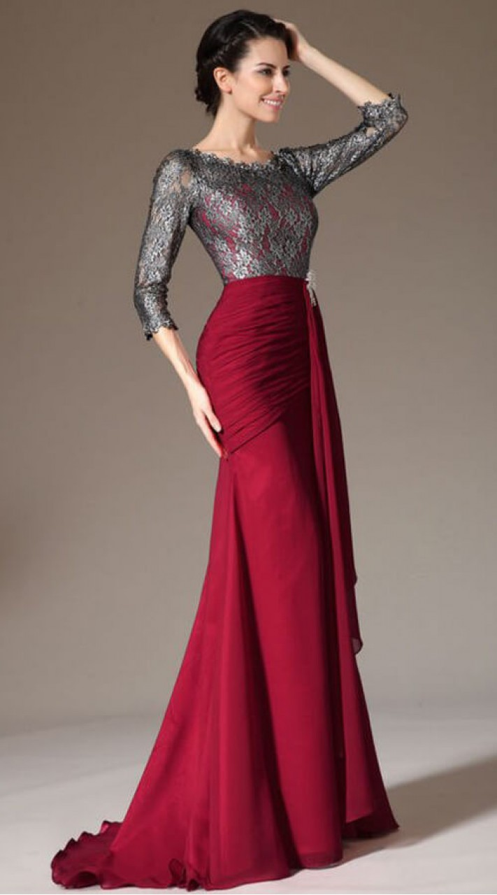 Maroon Indo Western Long Tail Gown For