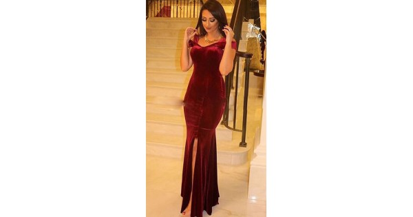 d6e770b43 Maroon Velvet Long Indo Western Gown for Evening Party WJ66520