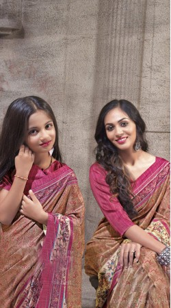 Printed Mom And Me Saree Combo In P