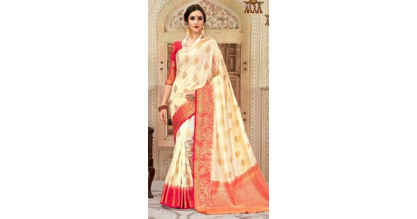e85877d12a18e Tussar Silk Weaving Work Cream Red Blouse Saree AK222096