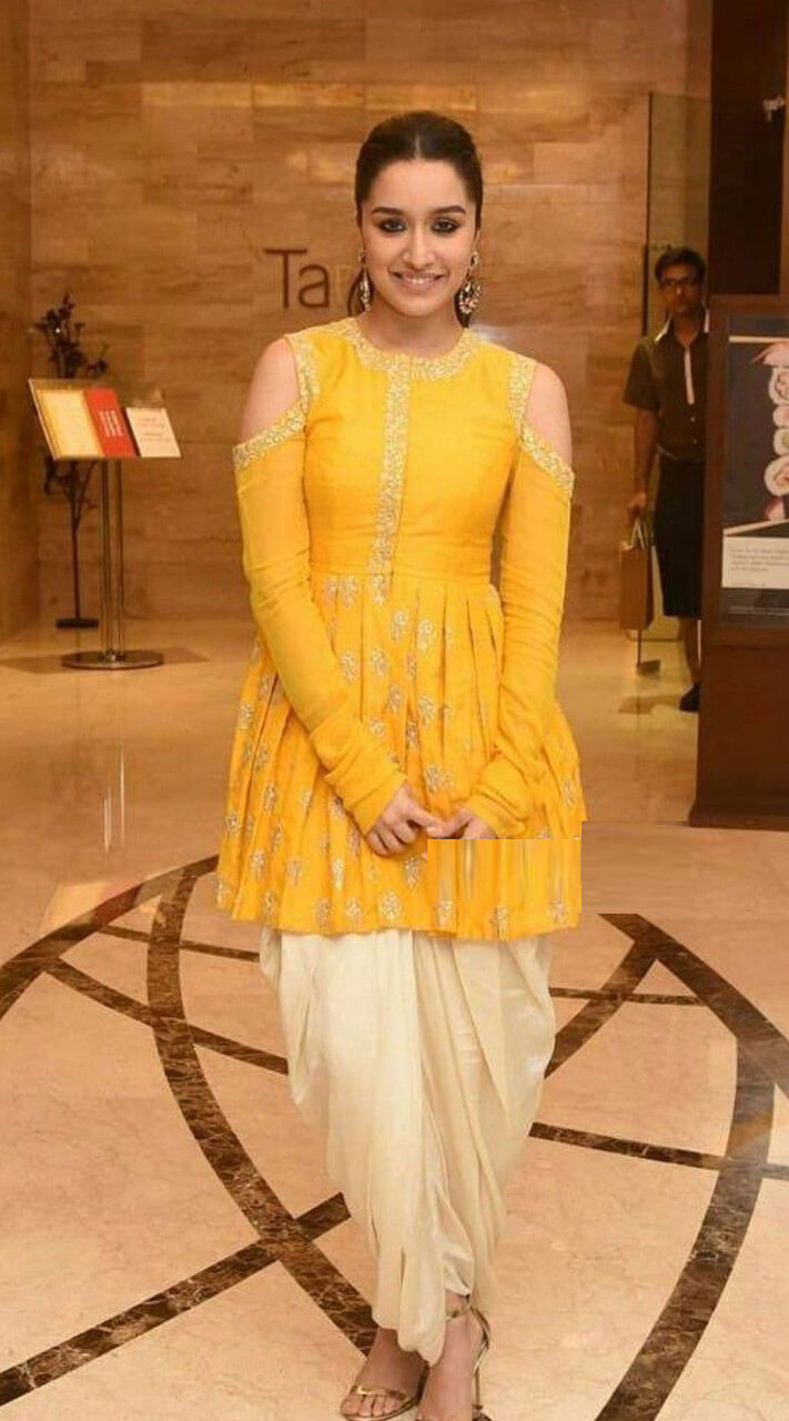 e3d3bdc42c Yellow and Cream Silk and Cotton Dhoti Style Salwar Suit for Party