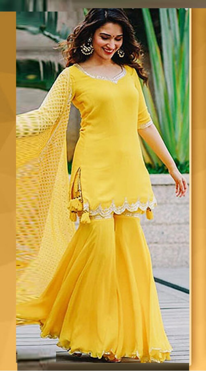 6a1a6efbc0 Yellow Georgette Single Color Sharara Suit for Festival