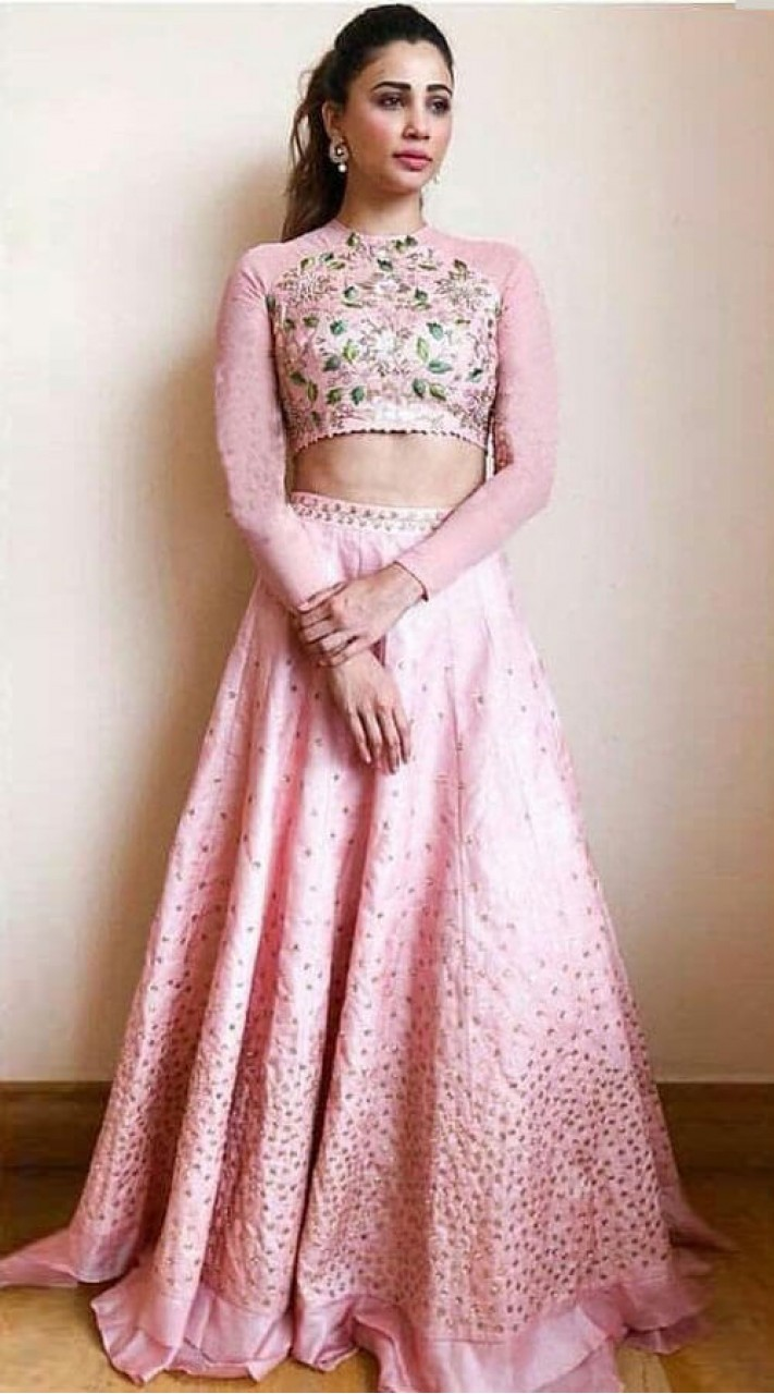 Light Pink Silk and Georgette High Neck Choli Lehenga WJ82625