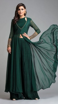 39fd1a6952 Bottle Green Georgette and Crush Palazzo Style Salwar Suit